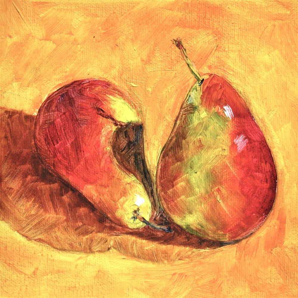 """Two Pears in a Pod"" original fine art by Theresa Gonzales"
