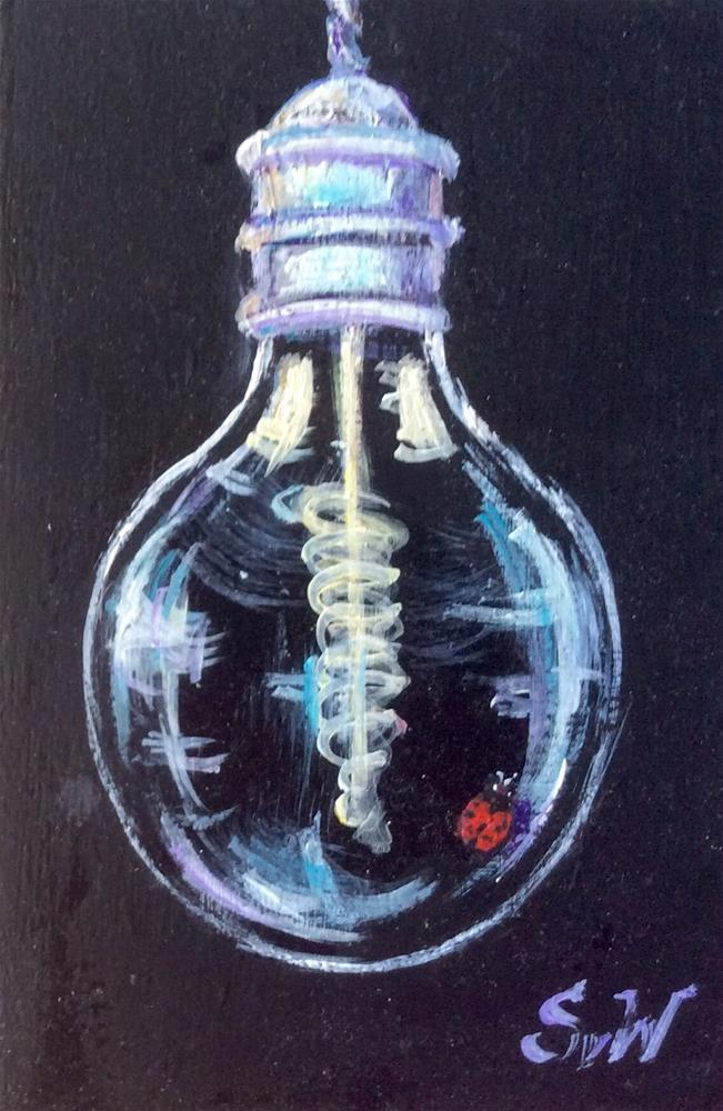 """Edison Lightbulb with Ladybug Painting"" original fine art by Sonia von Walter"