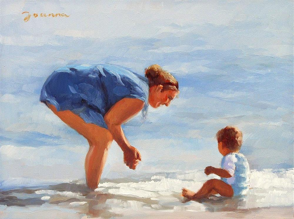 """Blissful Moment--Series Painting of Mother and Child at Beach"" original fine art by Joanna Bingham"