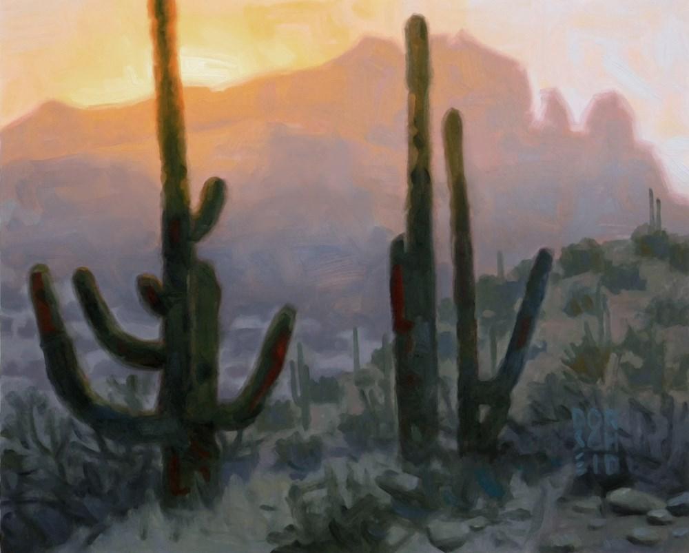 """Sunlit Desert Peaks"" original fine art by Les Dorscheid"