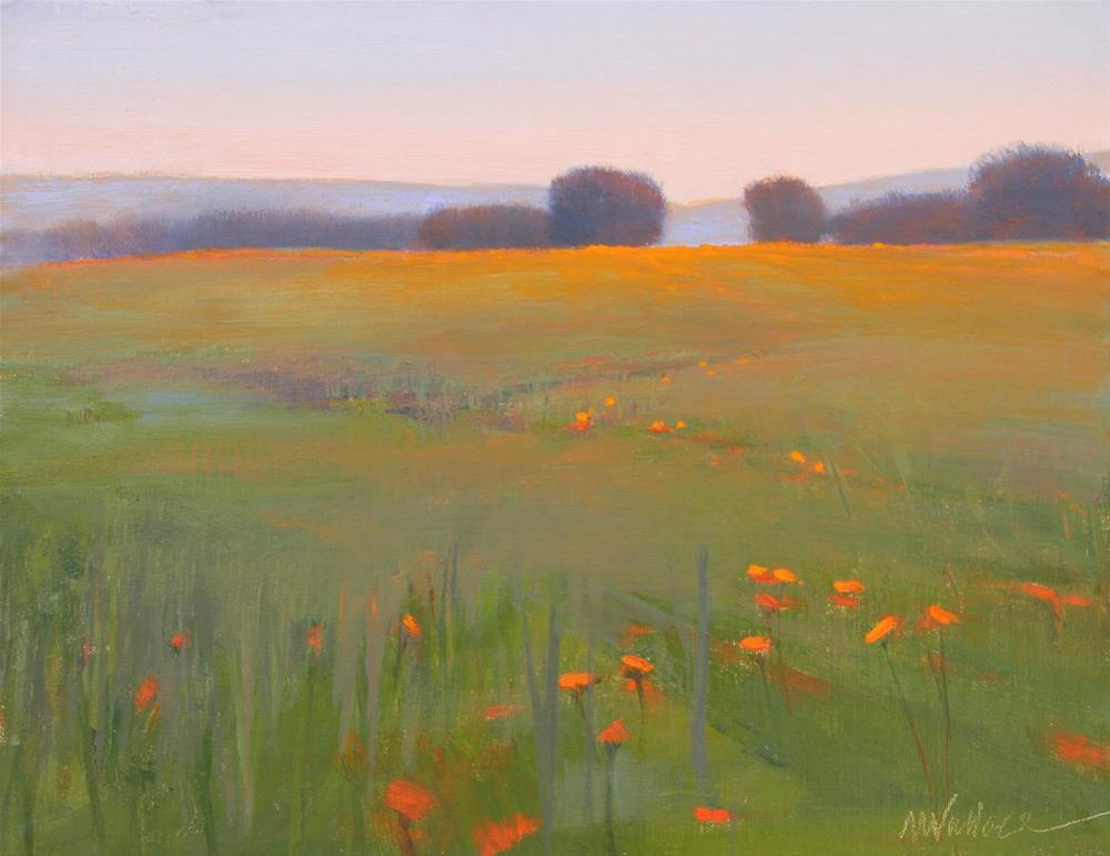 """#52 Poppies waking up"" original fine art by Nancy Wallace"