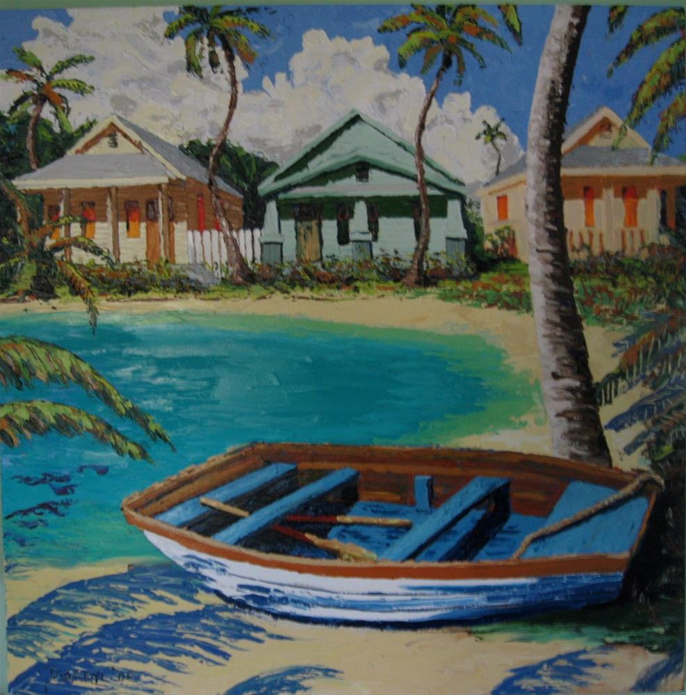 """Boat and Bungalows"" original fine art by Darryl Freeman"