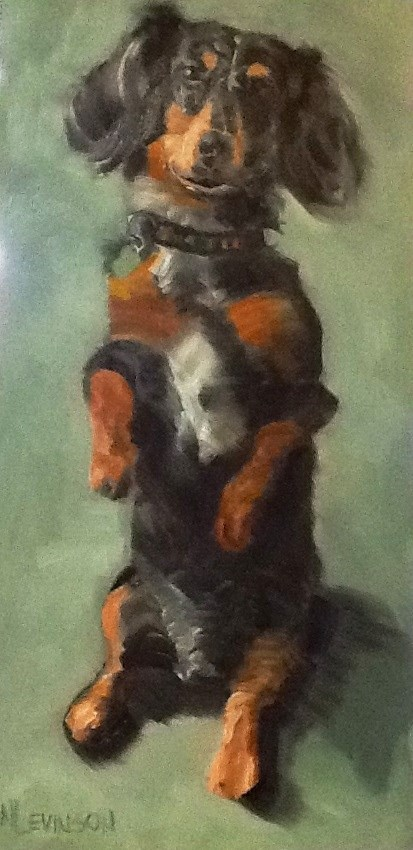 """Begging Weiner Dog"" original fine art by Nancy Levinson"