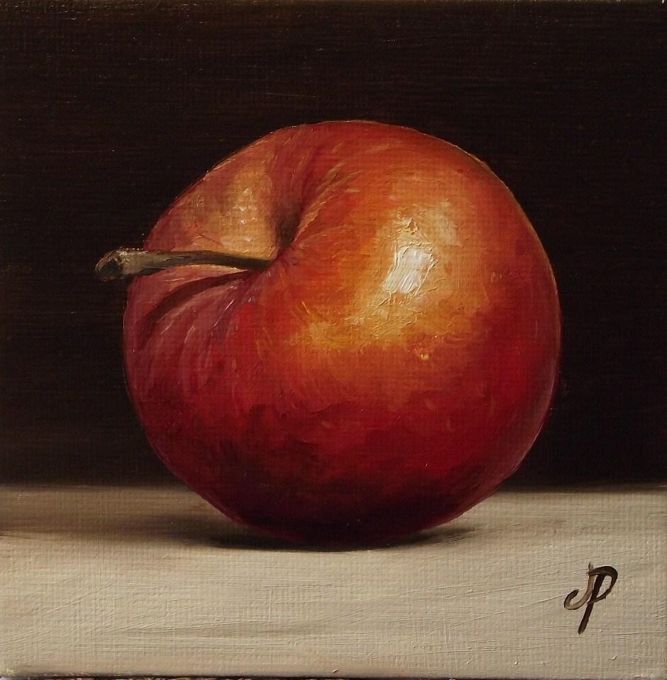 """""""Little Red Chief Apple"""" original fine art by Jane Palmer"""