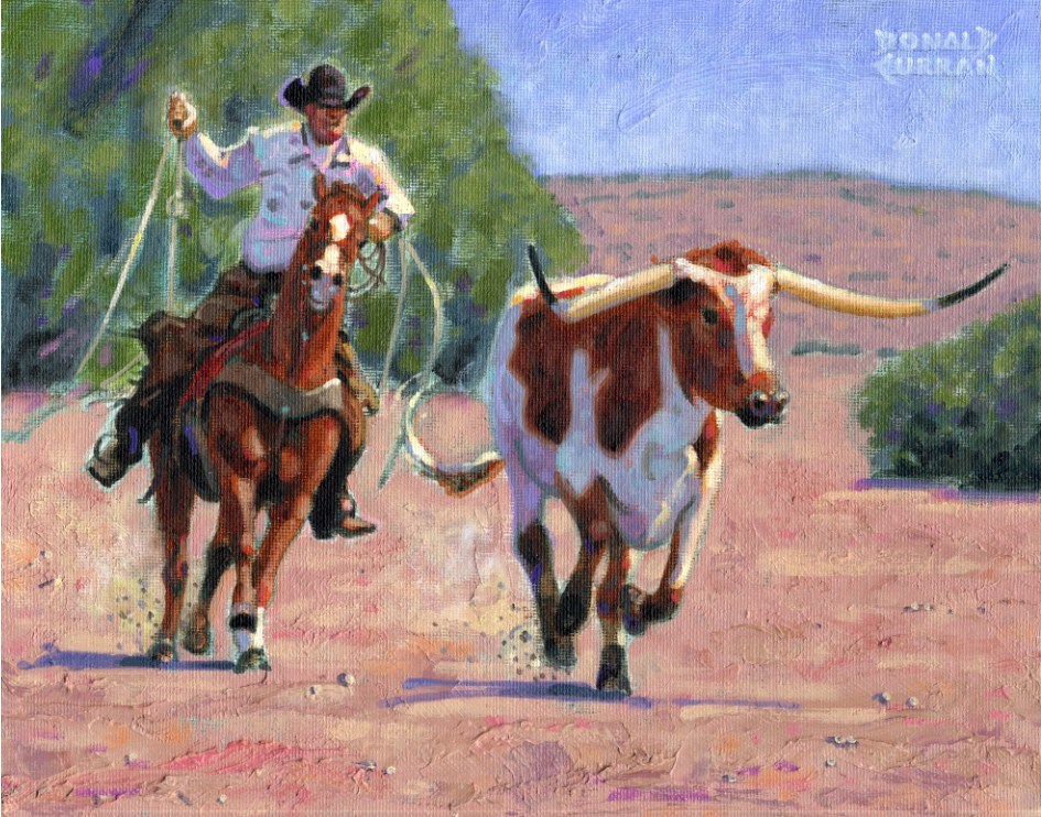 """Roping a Longhorn"" original fine art by Donald Curran"