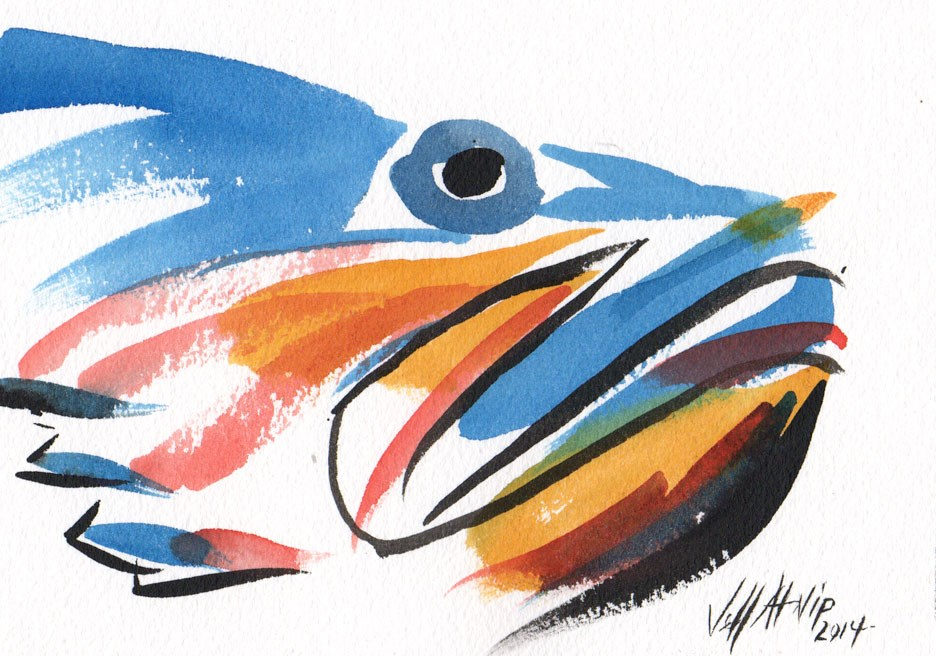 """Fish Face"" original fine art by Jeff Atnip"