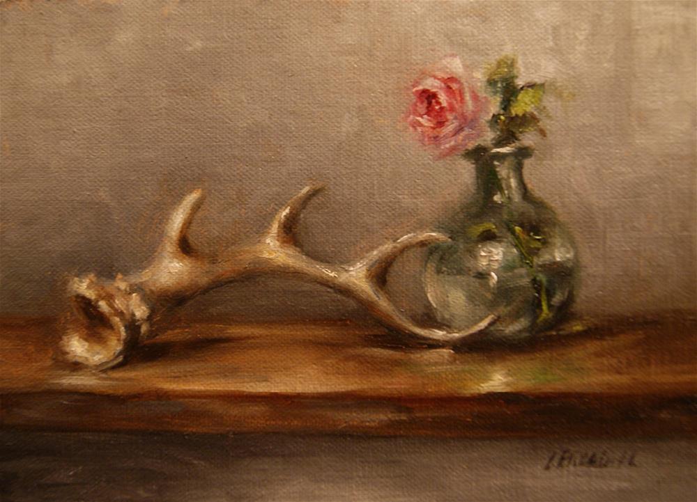 """Still Life with Antler and Rose,  Oil on 5x7 Linen Panel"" original fine art by Carolina Elizabeth"