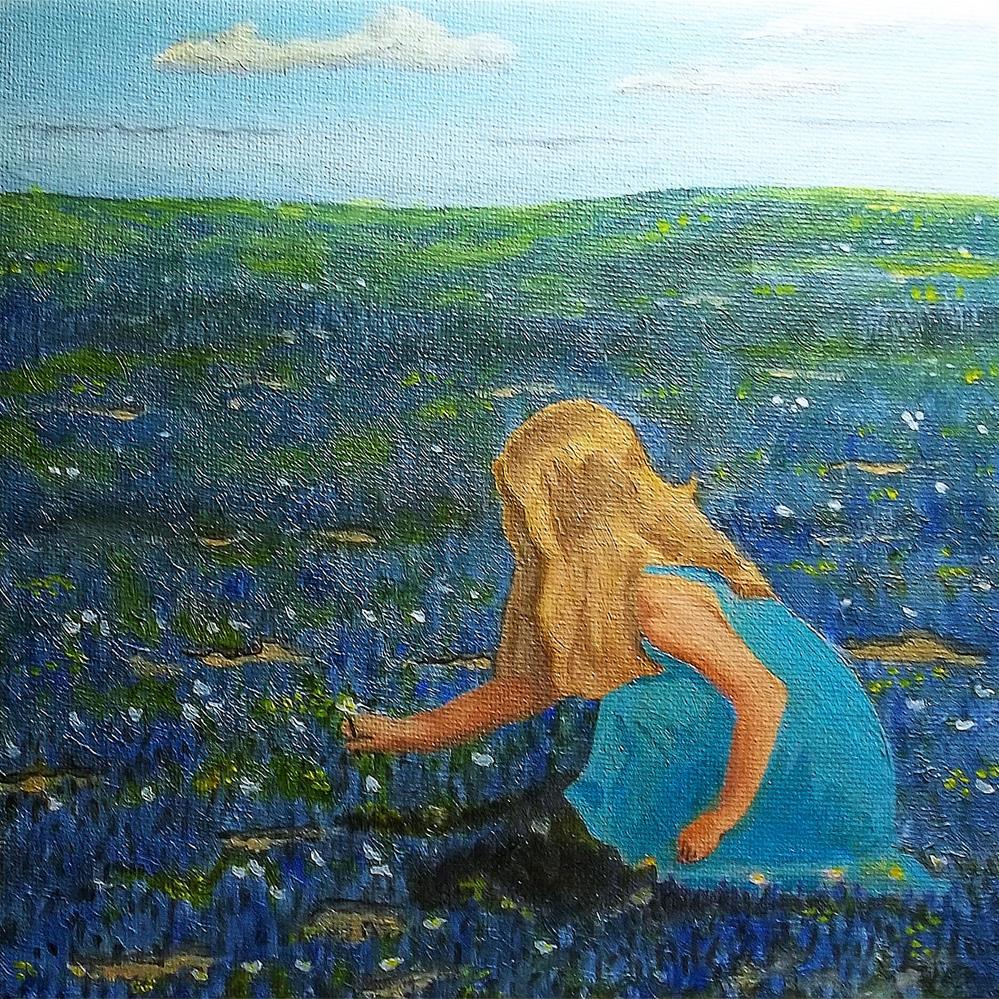 """""""Wildflower Picking"""" original fine art by William W. Hoyt"""