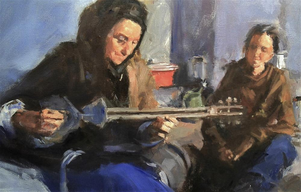 """teacher and student"" original fine art by Richard Schiele"