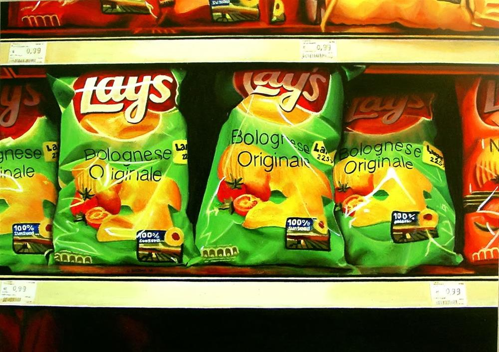 """Lays - still life of potato chips"" original fine art by Gerard Boersma"