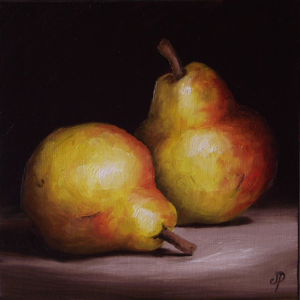 """Pair of Golden Yellow Pears"" original fine art by Jane Palmer"