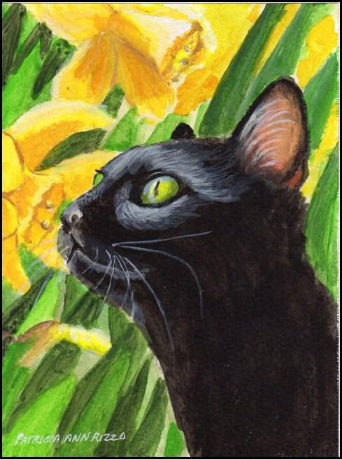 """Prowling in the Daffodil Patch"" original fine art by Patricia Ann Rizzo"