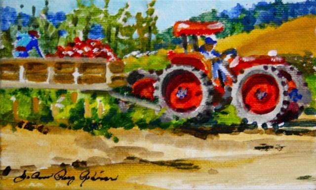 """Lettuce Tractor"" original fine art by JoAnne Perez Robinson"