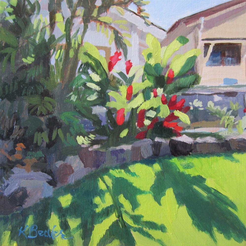 """Tropical Yard"" original fine art by Kaethe Bealer"