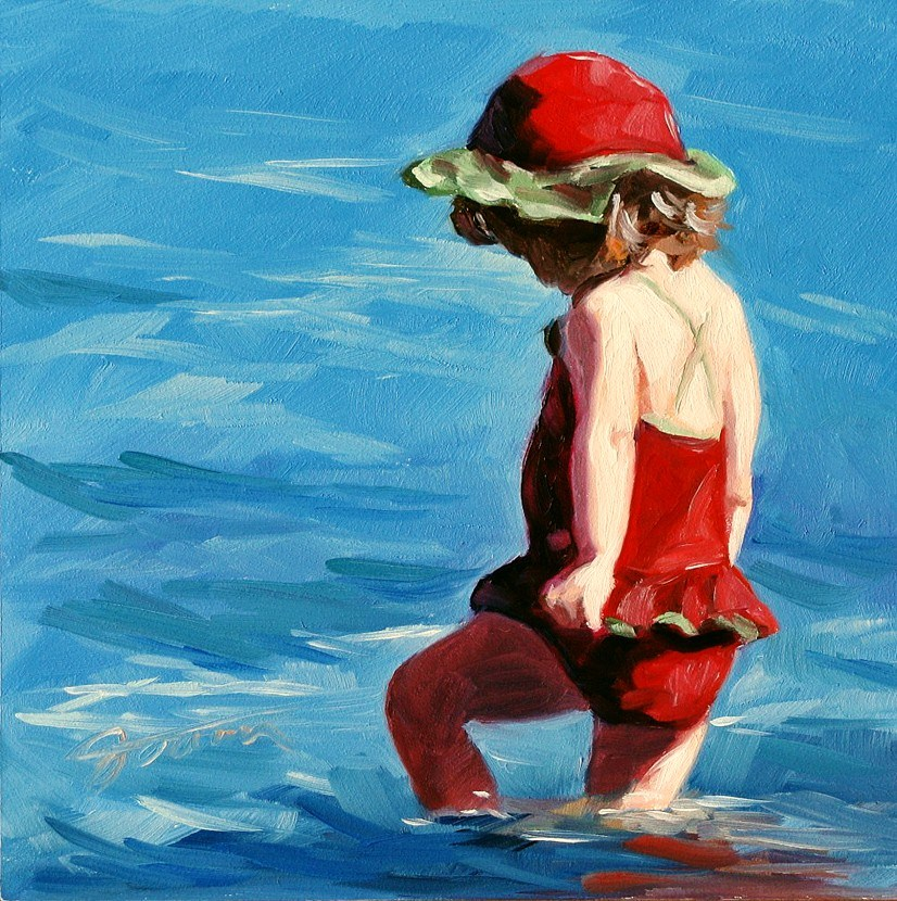 """Discovering Girl--Beach Babies Series"" original fine art by Joanna Bingham"