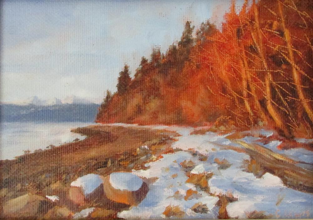 """Sunny Winter Beach"" original fine art by Christine Lewis"