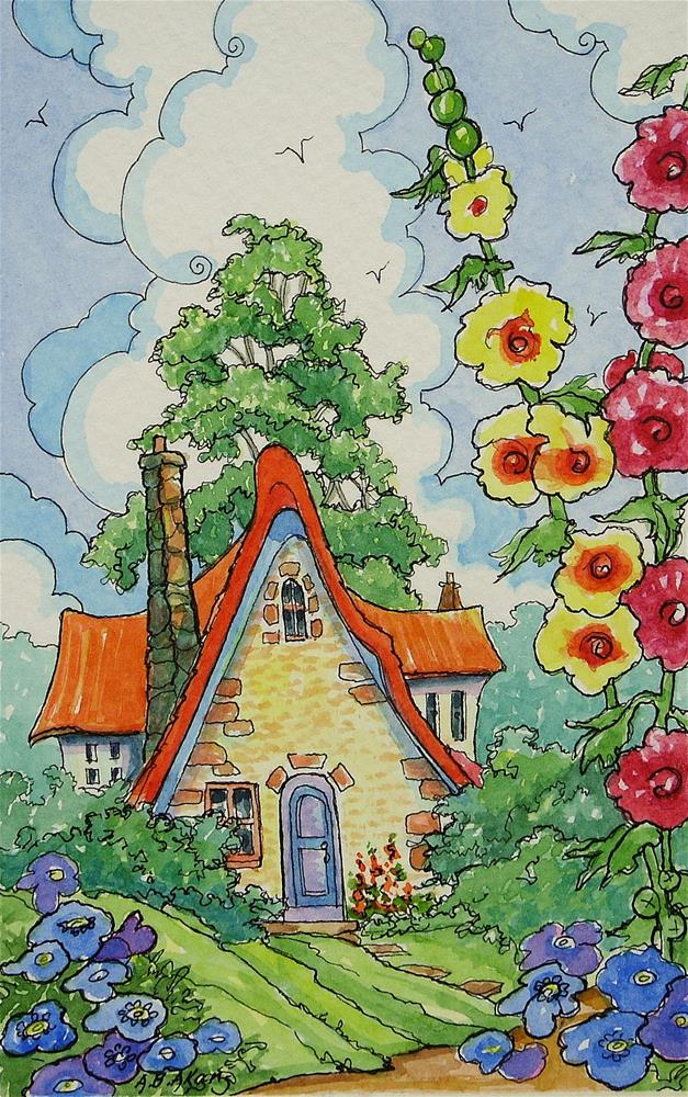 """""""Home Sweet Home Storybook Cottage Series"""" original fine art by Alida Akers"""