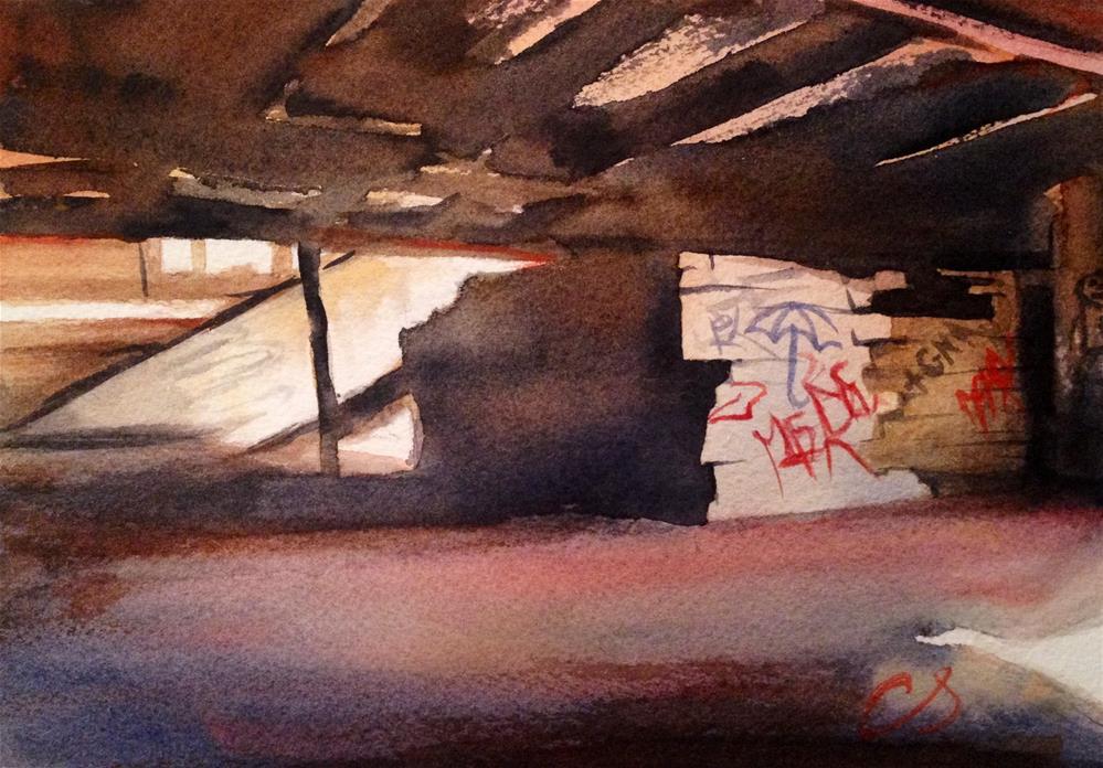 """Burned Factory, Detroit"" original fine art by Claudia Selene"
