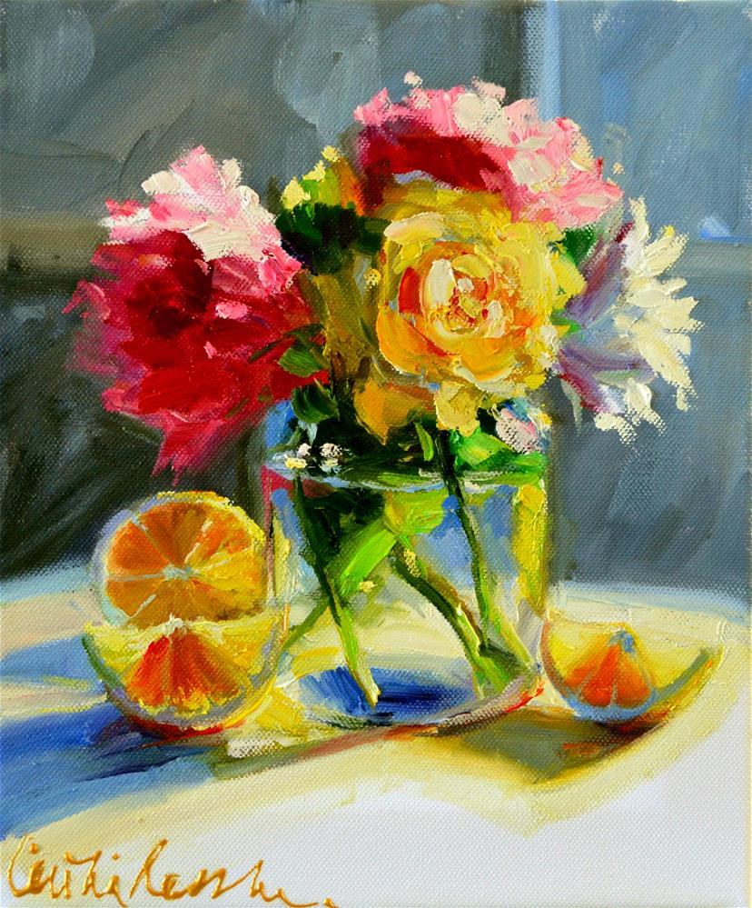 """POSY IN A MASON JAR"" original fine art by Cecilia Rosslee"