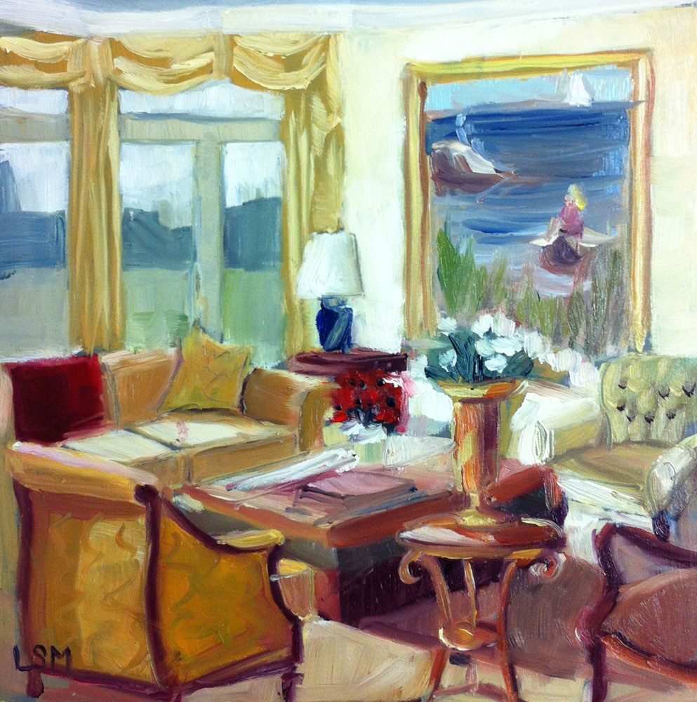 """Lighthouse Yellow Living Room"" original fine art by Linda Marino"