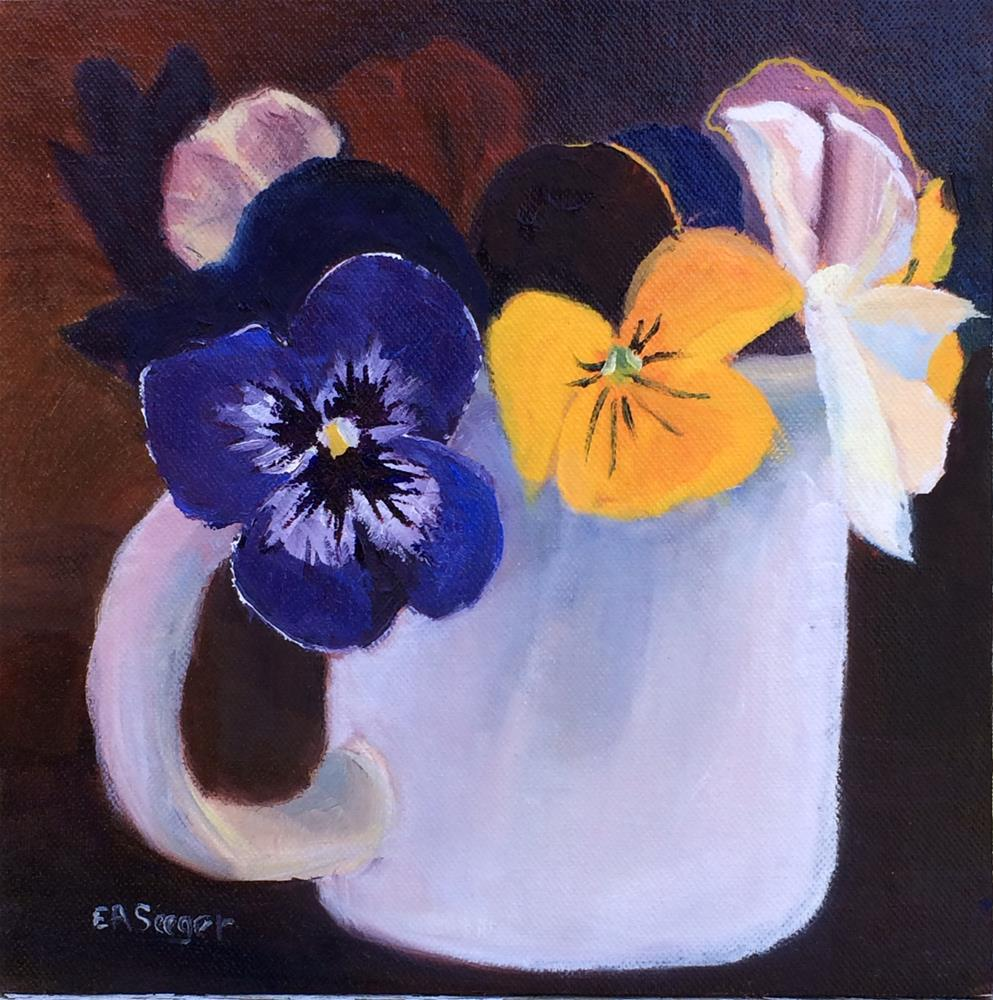 """Tiny Mug of Pansies"" original fine art by Elisabeth Seeger"