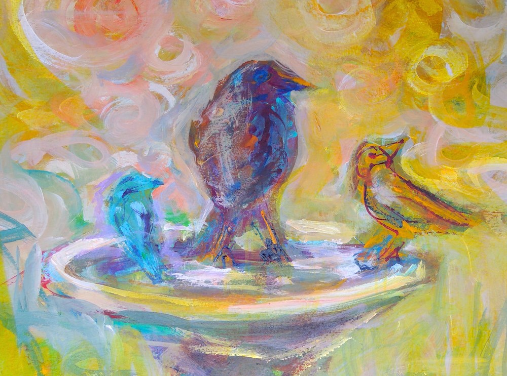 """At the Bath"" original fine art by Mary Schiros"