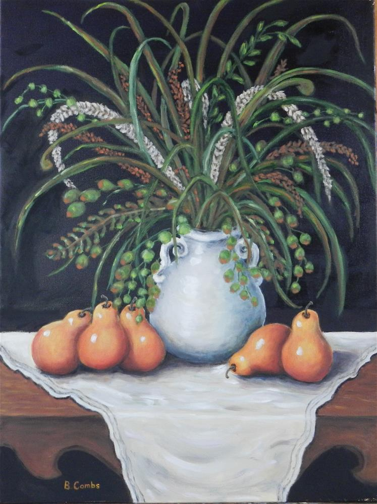 """Pears with White Vase"" original fine art by Bebe Combs"