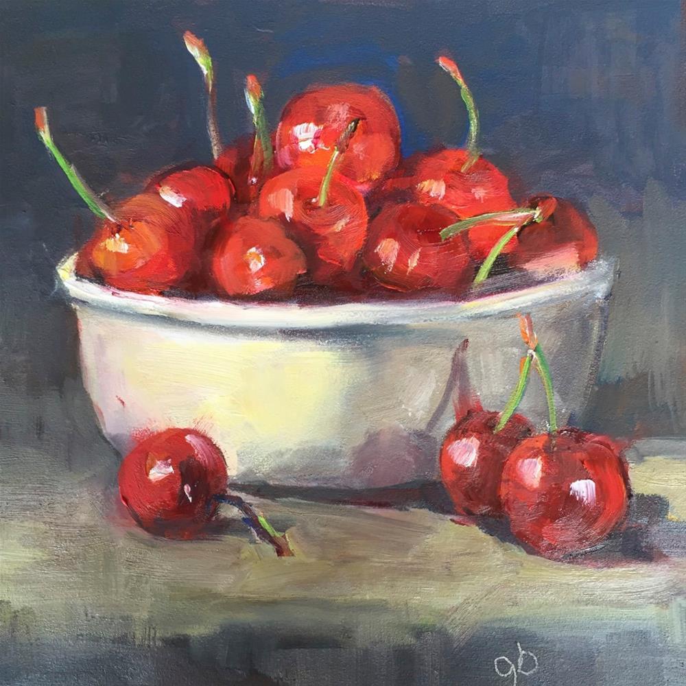 """Big Cherries, Little Bowl"" original fine art by Glenda Shaw Brown"