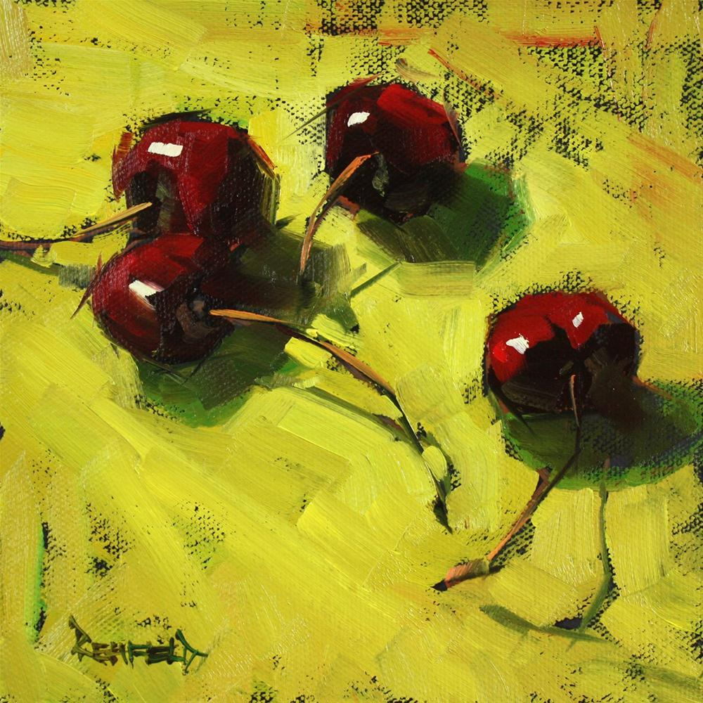 """Dark Cherries"" original fine art by Cathleen Rehfeld"