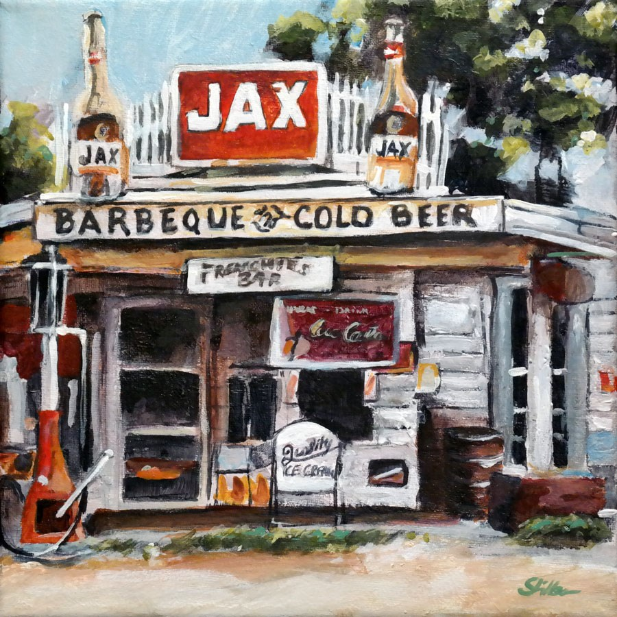 """1560 Barbequ & Cold Beer"" original fine art by Dietmar Stiller"