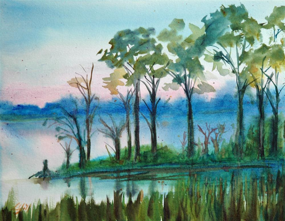 """Sunrise on Sunset Bayou"" original fine art by Lyn Gill"
