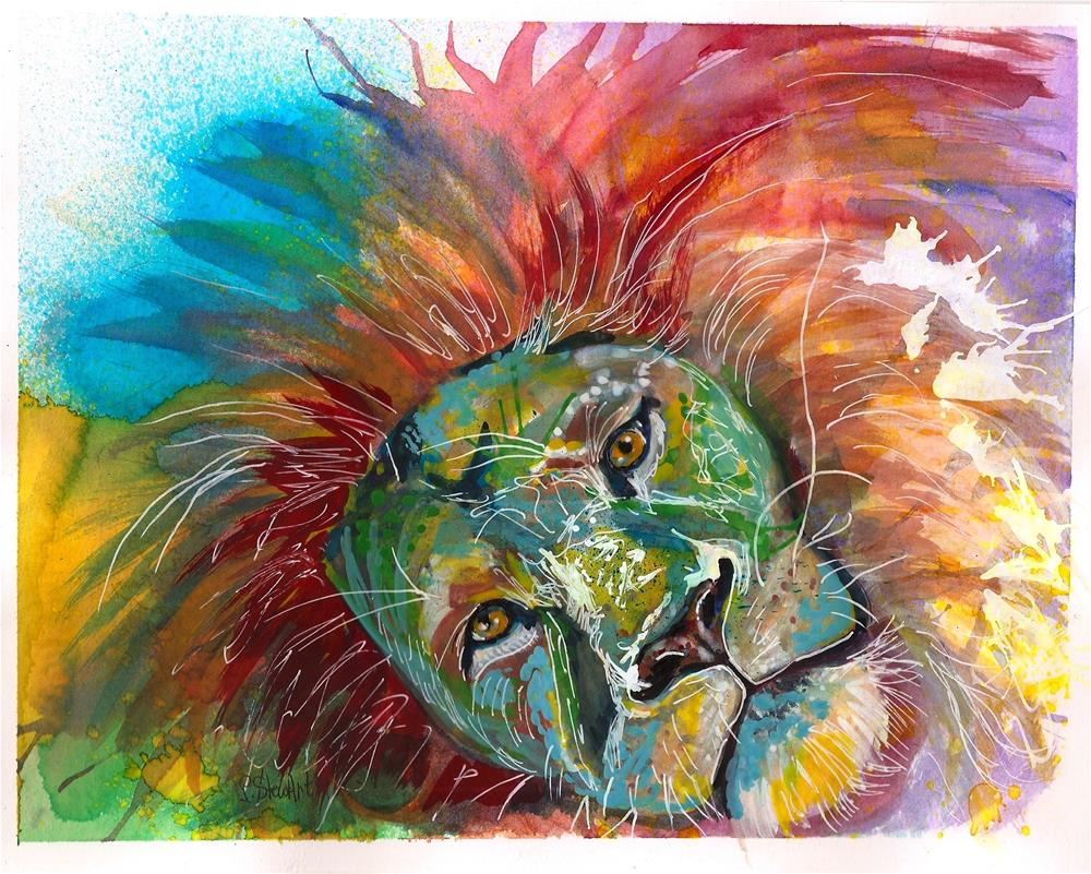 """8x10 Lion Head Bold and Beautiful Rainbow Hair WC mixed media by Penny StewArt"" original fine art by Penny Lee StewArt"