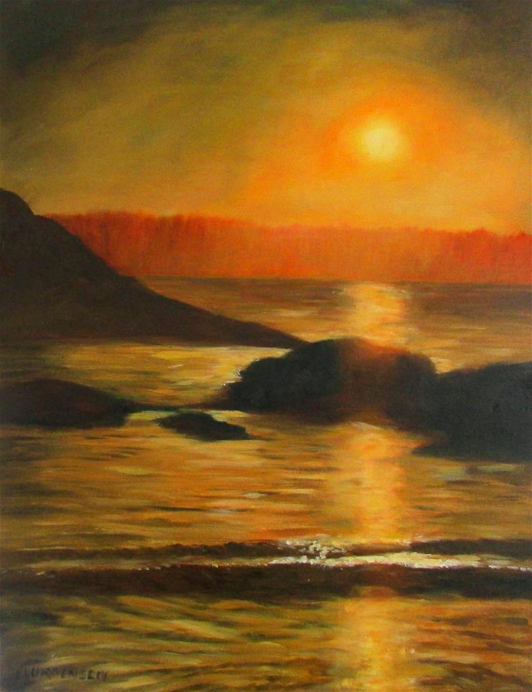 """24 x 18 inch oil Tofino Glow"" original fine art by Linda Yurgensen"