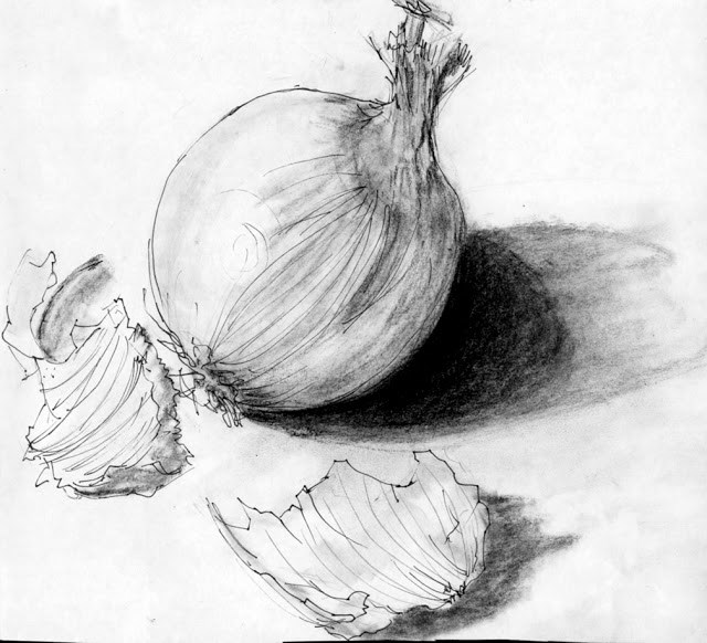 """White onion"" original fine art by Mitsuru Cope"