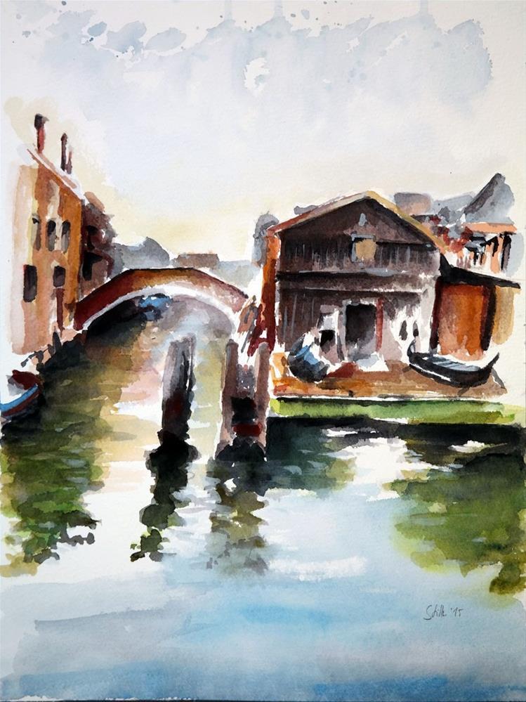 """1419 Gondola Shipyard"" original fine art by Dietmar Stiller"