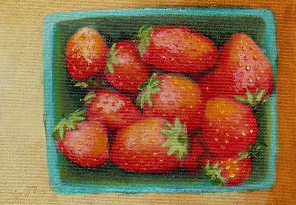 """strawberry"" original fine art by V. DeBak"