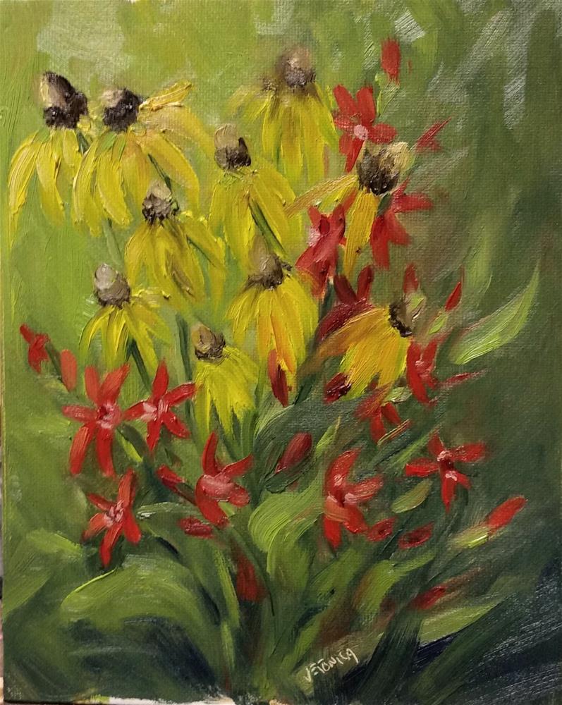 """Shaw Prairie Flower study-en plein air"" original fine art by Veronica Brown"