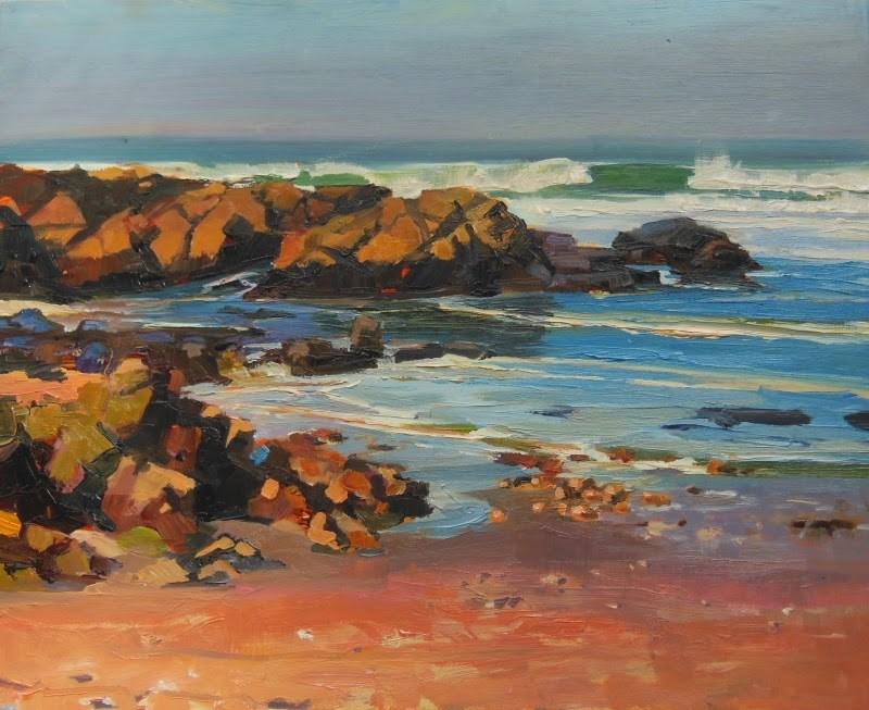 """""""Pescadero Beach California, coastal, plein air painting by Robin Weiss"""" original fine art by Robin Weiss"""