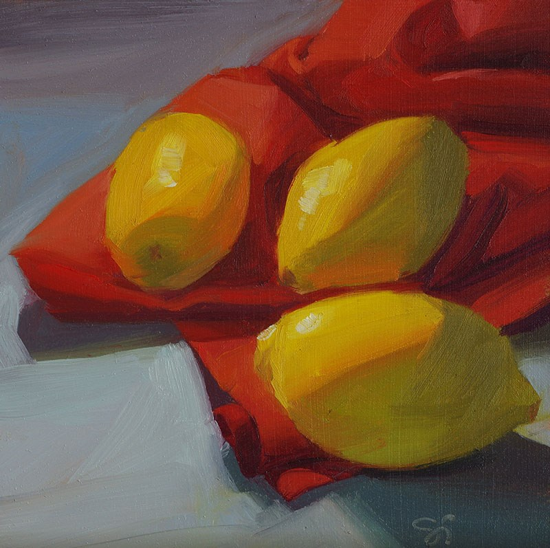 """Three lemons"" original fine art by Istvan Schaller"