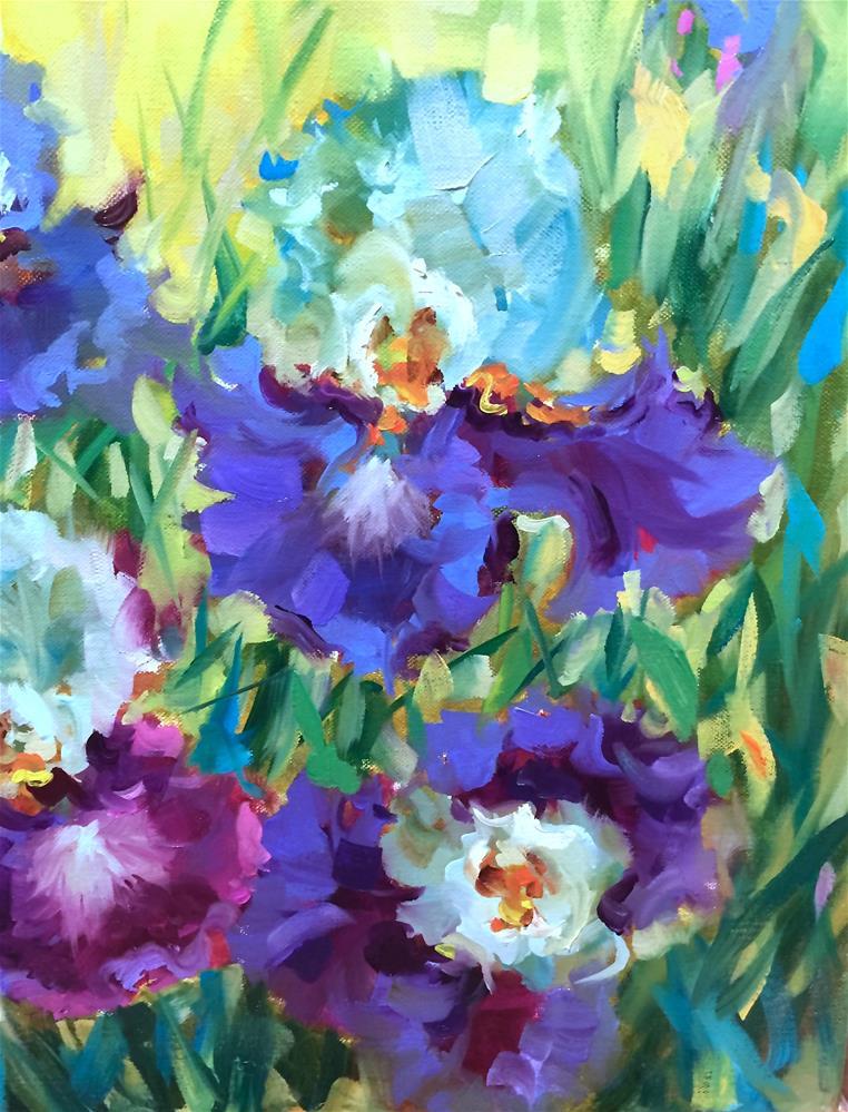 """""""Lavender Ladies Iris Garden"""" original fine art by Nancy Medina"""