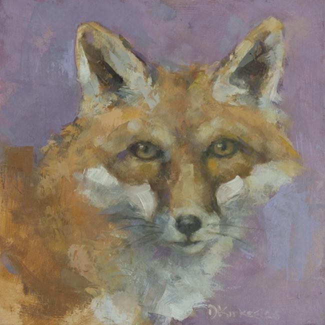 """Violet Fox Wildlife Painting Mn Artist Deb Kirkeeide"" original fine art by Deb Kirkeeide"