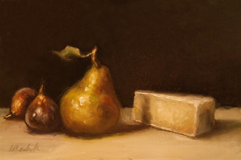 """Brie Pear and Figs Still Life Original Oil Painting 4x6 Linen Panel"" original fine art by Carolina Elizabeth"