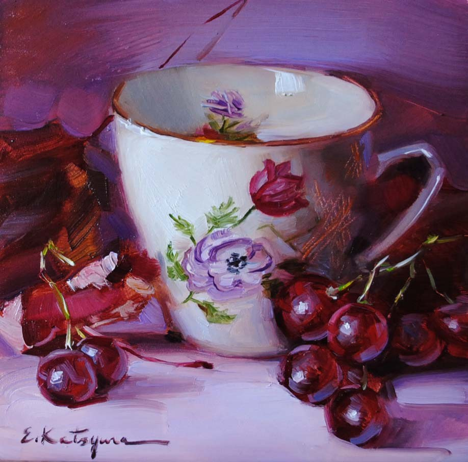 """Teacup & Red Grapes"" original fine art by Elena Katsyura"