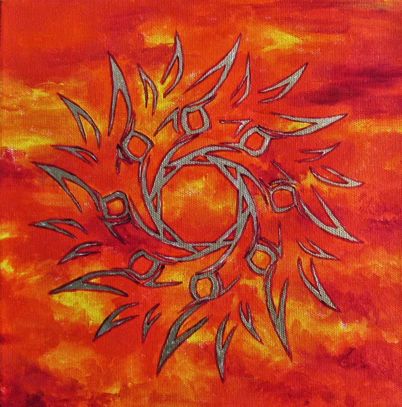 """Fire Sun 1"" original fine art by Nan Johnson"