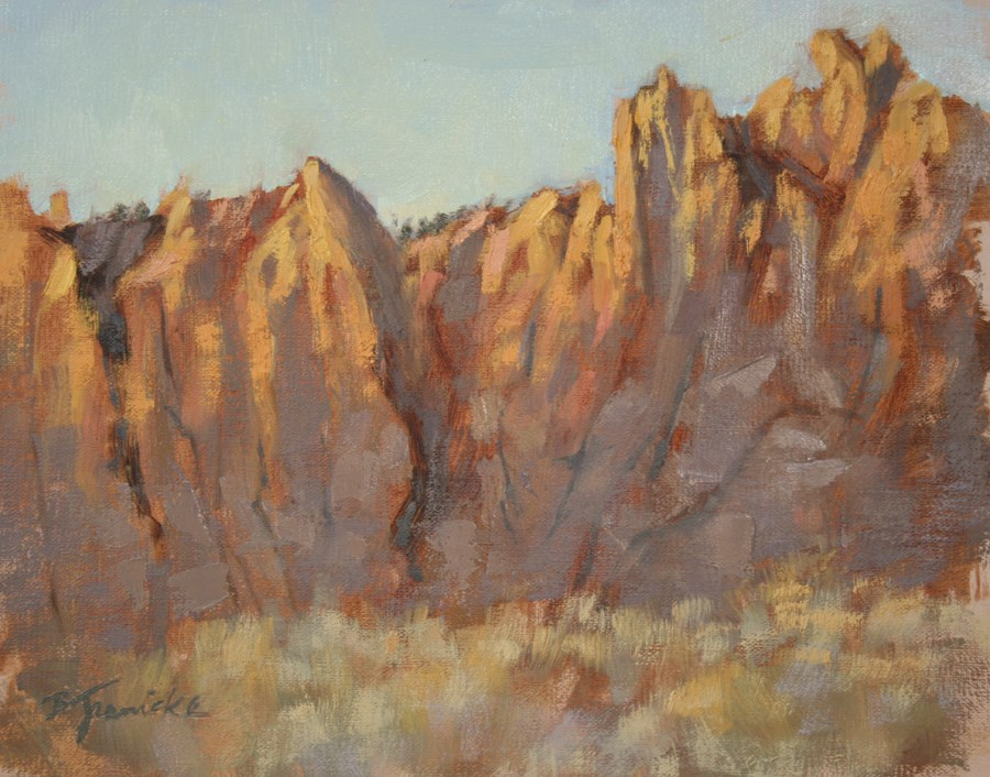 """Smith Rock Study, Late Afternoon in March"" original fine art by Barbara Jaenicke"