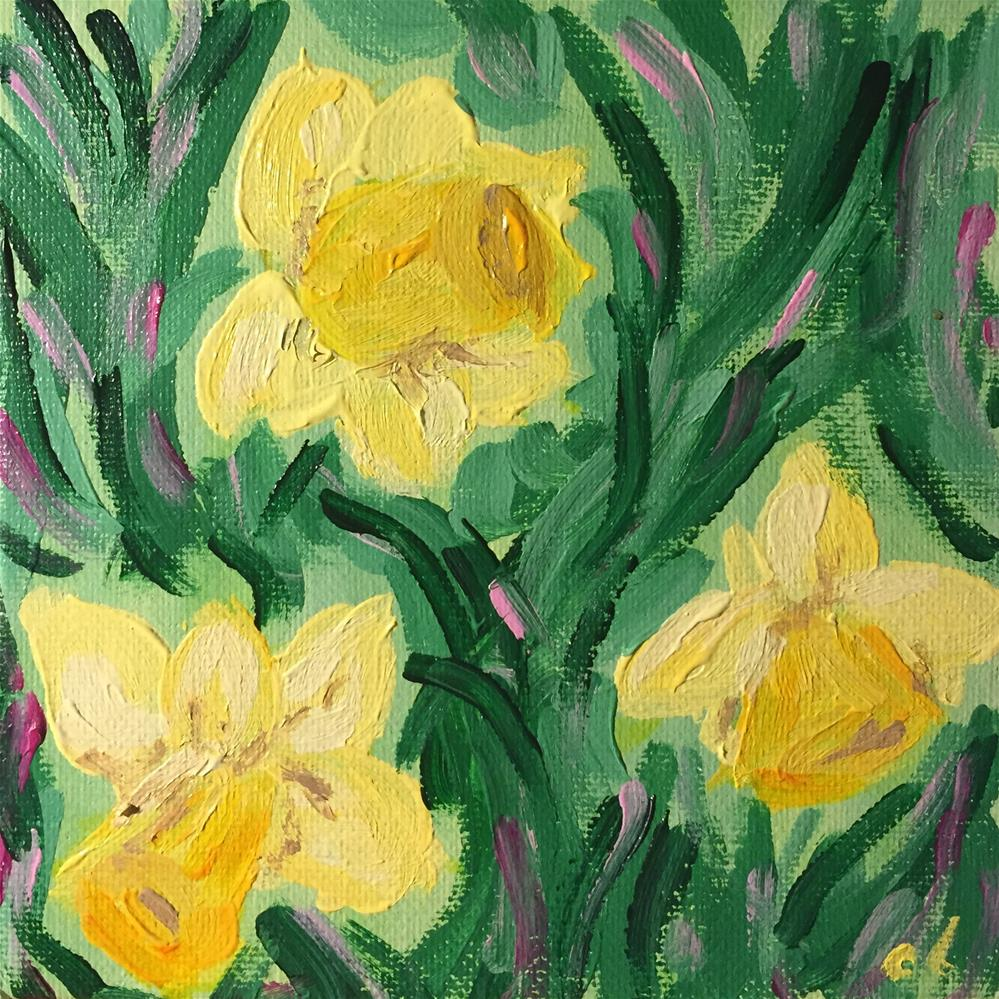"""Laughing WITH the daffodils"" original fine art by Cheree Apalona Lueck"