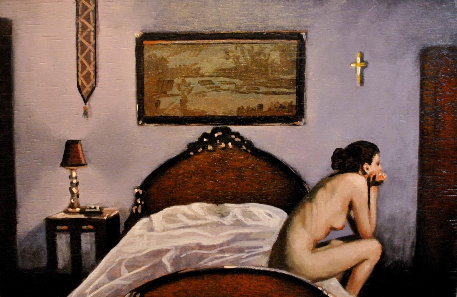 """Single Bed 11x17 oil on Launa panel in black frame"" original fine art by David Larson Evans"