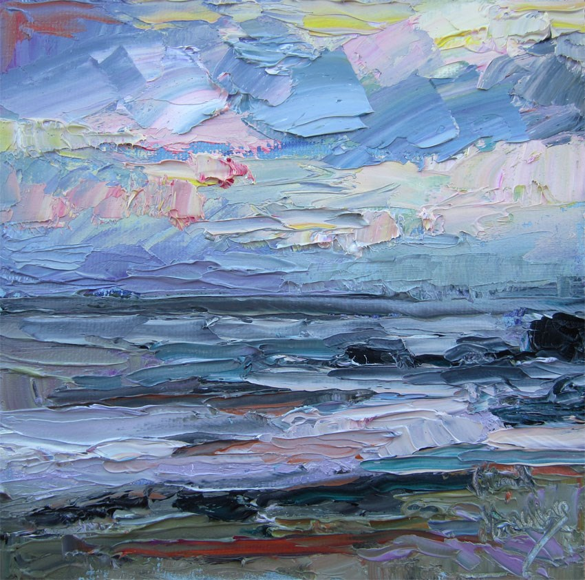 """Twilight Ocean 2"" original fine art by Carol Steinberg"