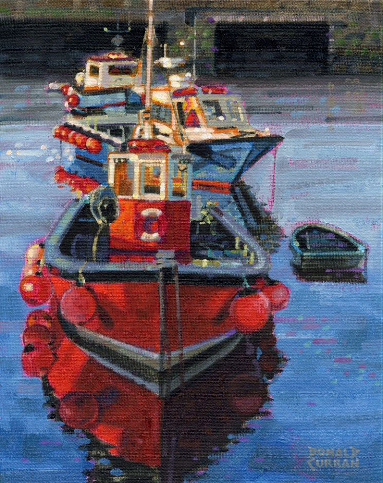 """Colorful Boats"" original fine art by Donald Curran"