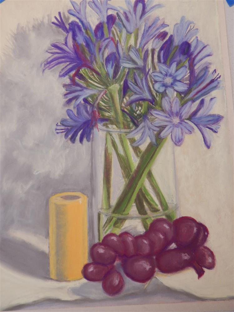 """Still Life with Summer Skies Agapanthus"" original fine art by Elaine Shortall"